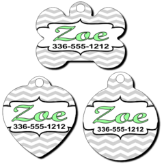 Personalized Chevron Background Pet Tag for Dogs and Cats
