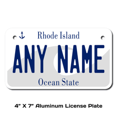 Personalized Rhode Island 4 X 7 License Plate