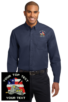 Custom Embroidered Firefighter Logo Long Sleeve Easy Care Button Down Shirt