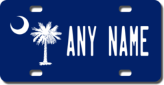 Personalized South Carolina Flag License Plate for Bicycles, Kid's Bikes, Carts, Cars or Trucks