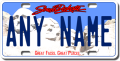 Personalized South Dakota License Plate for Bicycles, Kid's Bikes, Carts, Cars or Trucks Version 2