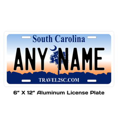 Personalized South Carolina 6 X 12 License Plate