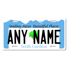 Personalized South Carolina License Plate for Bicycles, Kid's Bikes, Carts, Cars or Trucks Version 2