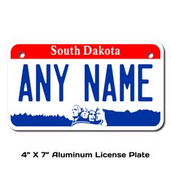 Personalized South Dakota 4 X 7 License Plate