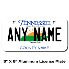 Personalized Tennessee 3 X 6 License Plate