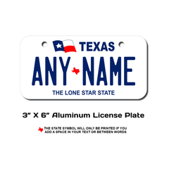 Personalized Texas 3 X 6 License Plate