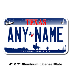 Personalized Texas 4 X 7 License Plate