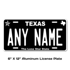 Personalized Texas 6 X 12 License Plate
