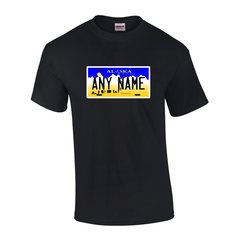 Personalized Alaska License Plate T-shirt Adult and Youth Sizes Version 1