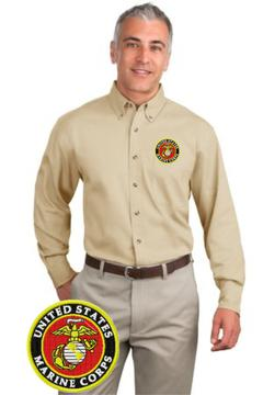 CLEARANCE US Marine Embroidered Seal Stone Long Sleeve Twill Shirt SIZE LARGE