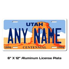 Personalized Utah 6 X 12 License Plate