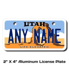 Personalized Utah 2 X 4 License Plate