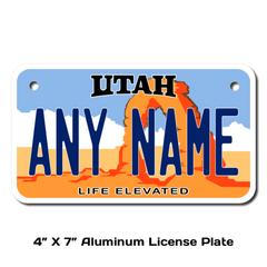 Personalized Utah 4 X 7 License Plate