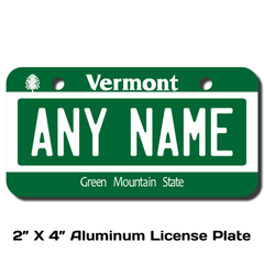 Personalized Vermont 2 X 4 License Plate