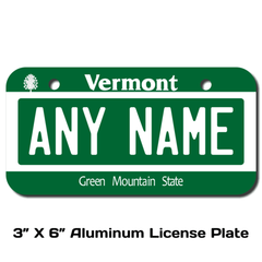 Personalized Vermont 3 X 6 License Plate