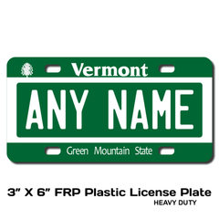 Personalized Vermont 3 X 6 Plastic License Plate