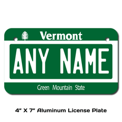 Personalized Vermont 4 X 7 License Plate