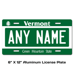 Personalized Vermont 6 X 12 License Plate