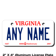 Personalized Virginia 2 X 4 License Plate