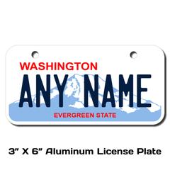 Personalized Washington 3 X 6 License Plate