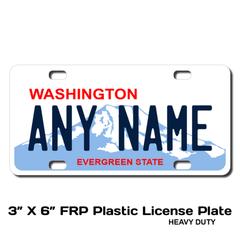 Personalized Washington 3 X 6 Plastic License Plate
