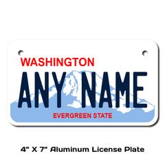 Personalized Washington 4 X 7 License Plate