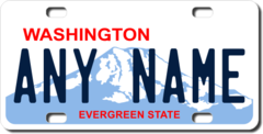Personalized Washington License Plate for Bicycles, Kid's Bikes, Carts, Cars or Trucks