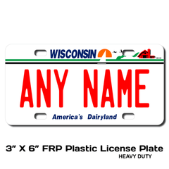 Personalized Wisconsin 3 X 6 Plastic License Plate