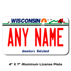 Personalized Wisconsin 4 X 7 License Plate