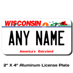 Personalized Wisconsin 2 X 4 License Plate