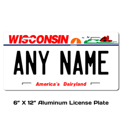 Personalized Wisconsin 6 X 12 License Plate
