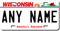 Personalized Wisconsin License Plate for Bicycles, Kid's Bikes, Carts, Cars or Trucks Version 2