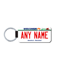Personalized Wisconsin 1.5 X 3 Key Ring License Plate