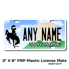 Personalized Wyoming 3 X 6 Plastic License Plate