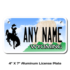 Personalized Wyoming 4 X 7 License Plate