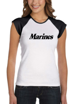 CLEARANCE Ladies Marines Baby Rib Cap-Sleeve T-Shirt SIZE MEDIUM