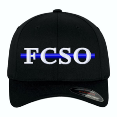 Custom Embroidered Blue Line Flexfit Baseball Cap