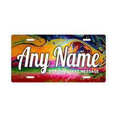 Personalized Multi-Colored Swirls License Plate for Bicycles, Kid's Bikes, Carts, Cars or Trucks