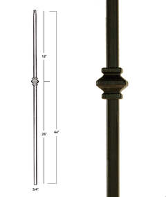 "MEGA 3/4""square One Knuckle Iron Stair Baluster"