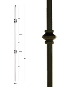 "MEGA 3/4""square Two Knuckles Iron Stair Baluster"