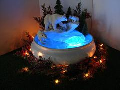Polar Bear indoor tabletopFountain, Christmas Fountain, bubbling water fountain with polar bears