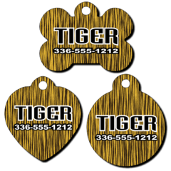 Personalized Tiger Stripe Background Pet Tag for Dogs and Cats
