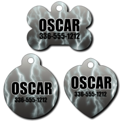 Personalized Grey Lightening Background Pet Tag for Dogs and Cats