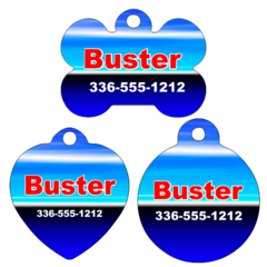 Personalized Blue Pet Tag for Dogs and Cats