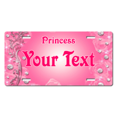 Personalized Pink Diamonds Princess License Plate for Bicycles, Kid's   Bikes, Carts, Cars or Trucks
