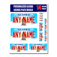 Personalized Alaska License Plate Decals - Stickers Version 3