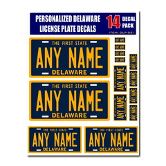 Personalized Delaware License Plate Decals - Stickers Version 1