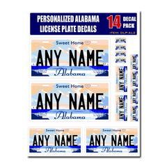 Personalized Alabama License Plate Decals - Stickers Version 2