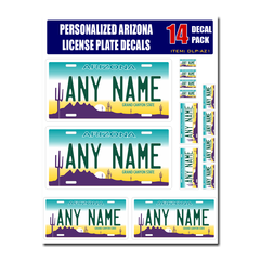 Personalized Arizona License Plate Decals - Stickers Version 1