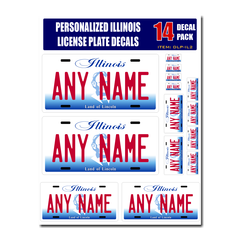 Personalized Illinois License Plate Decals - Stickers Version 2